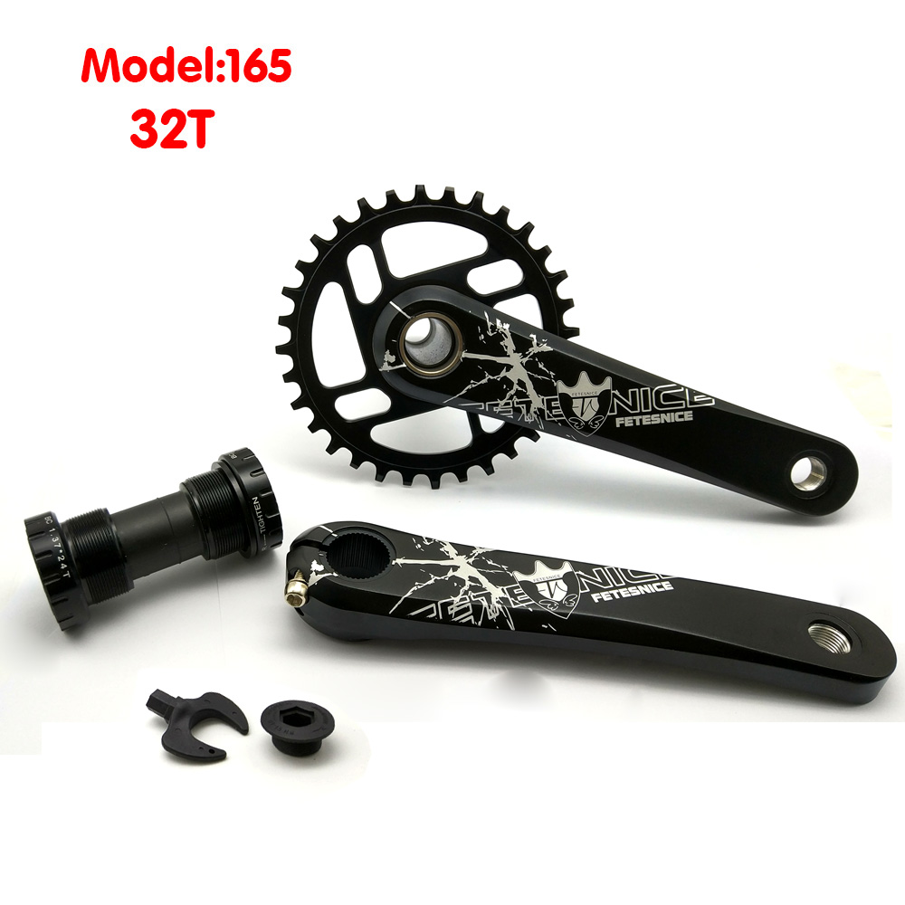 Aluminum Alloy MTB bike crankset 32T/34Tchainring 165mm crank 7075/CrMo bicycle crankset aluminum alloy bicycle crank chain wheel mountain bike inner bearing crank fluted disc mtb 104bcd bike part