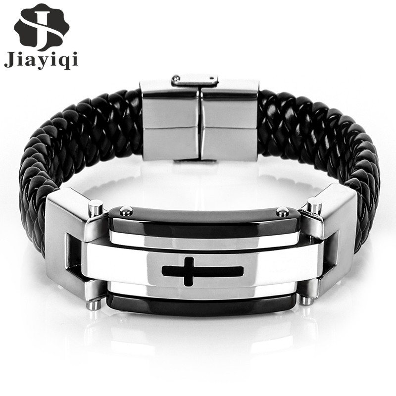 Jiayiqi Punk Cross Stainless Steel Braided Cuff Leather Bracelets Men Woven Bangle For Men Jewelry Christmas Gift 2016 image