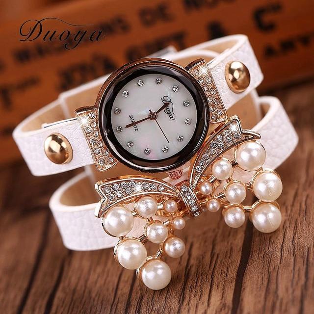 Duoya Hot Sale luxury watch women bracelet watch fashion crystal pearl heart pendant analog quartz wrist vintage women watches