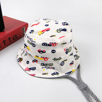 New Cotton Baby Hats Kids Bucket Cap Cartoon Print Sun Hat Baby Boy And Girl Flat