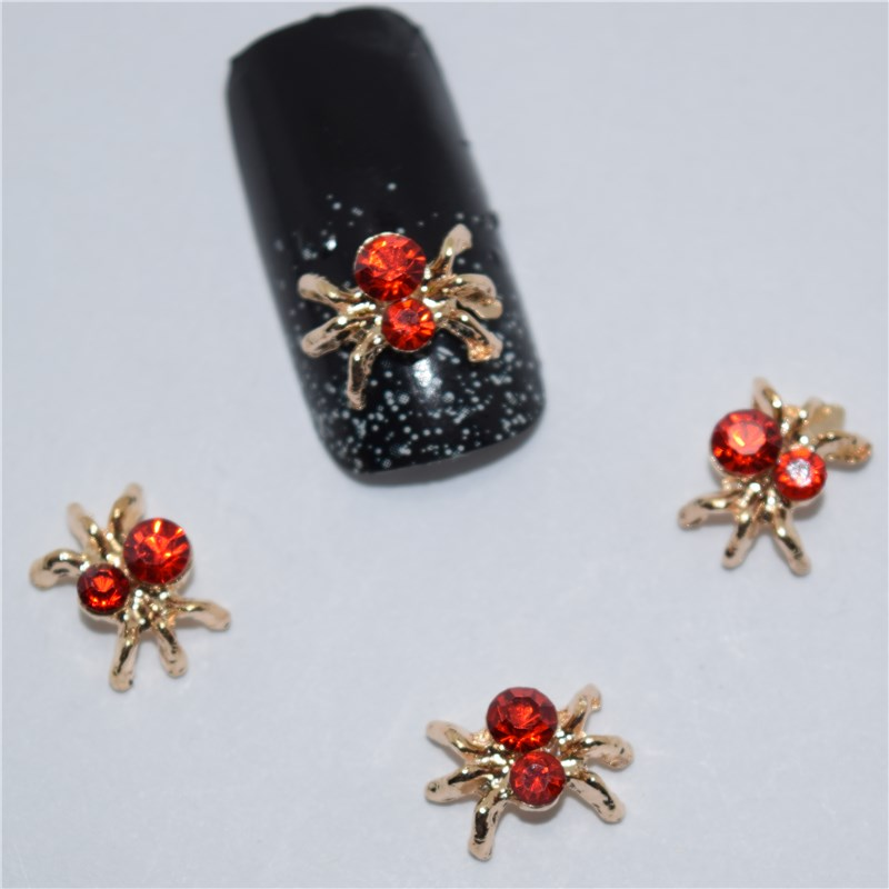 10psc New  Red Diamond spider 3D Nail Art Decorations,Alloy Nail Charms,Nails Rhinestones  Nail Supplies #094 10psc new eiffel tower 3d nail art decorations alloy nail charms nails rhinestones nail supplies 049