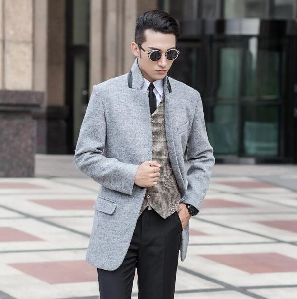 Stand collar grey winter wool coat mens trench coats slim casual ...