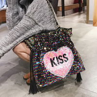 Lasser Dazzling Sequins Hearts Shape Kiss Letters Women Handbag High capacity Colorful Tote Ladies Shoulder Messenger Bag Female