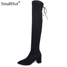 Over the Knee High Boots New 2019 Genuine Cow Leather Women Autumn Pointed Toe Ladies Square heel E102 Woman Black Winter Shoes