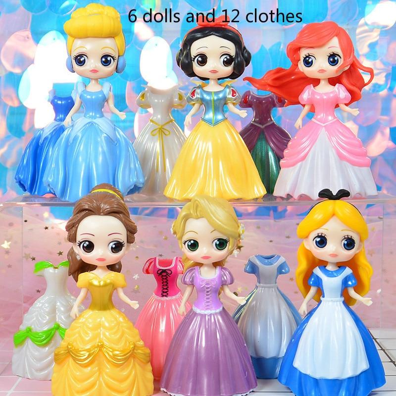 6pcs Figurine Disney Princess Dress 3th Q Version Change Clothes 6 Dolls Dress PVC Action Figures Toys for Girls 2DS01 figurine