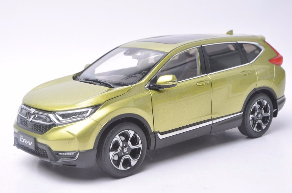 1:18 Diecast Model for Honda CR-V 2017 Green SUV Alloy Toy Car Miniature Collection Gifts CRV CR V 1 18 diecast model for honda crider 2016 white sedan alloy toy car miniature collection gifts crv cr v