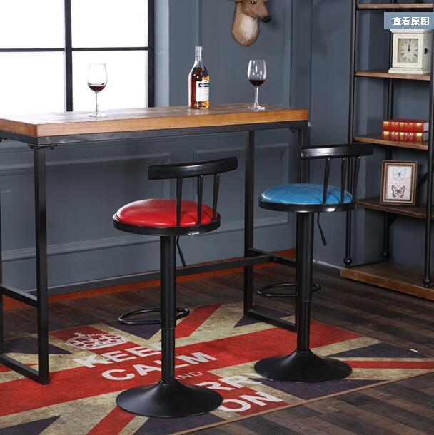 Iron Art Bar Chair. Lifting Chair. Solid Wood Back Rotation. High Footstool. Bar Chair