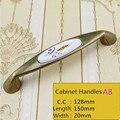 """5 """" de latón antiguo manija del gabinete de cocina de cerámica cupbord tire 5 """" bronce aparador armario cómoda muebles manijas perillas 128 mm"""