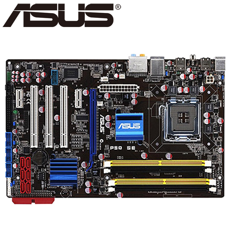 Asus P5Q SE Desktop Motherboard P45 Socket LGA 775 For Core 2 Duo Quad DDR2 16G ATX UEFI BIOS Original Used Mainboard On Sale asus p8h61 m le desktop motherboard h61 socket lga 1155 i3 i5 i7 ddr3 16g uatx uefi bios original used mainboard on sale