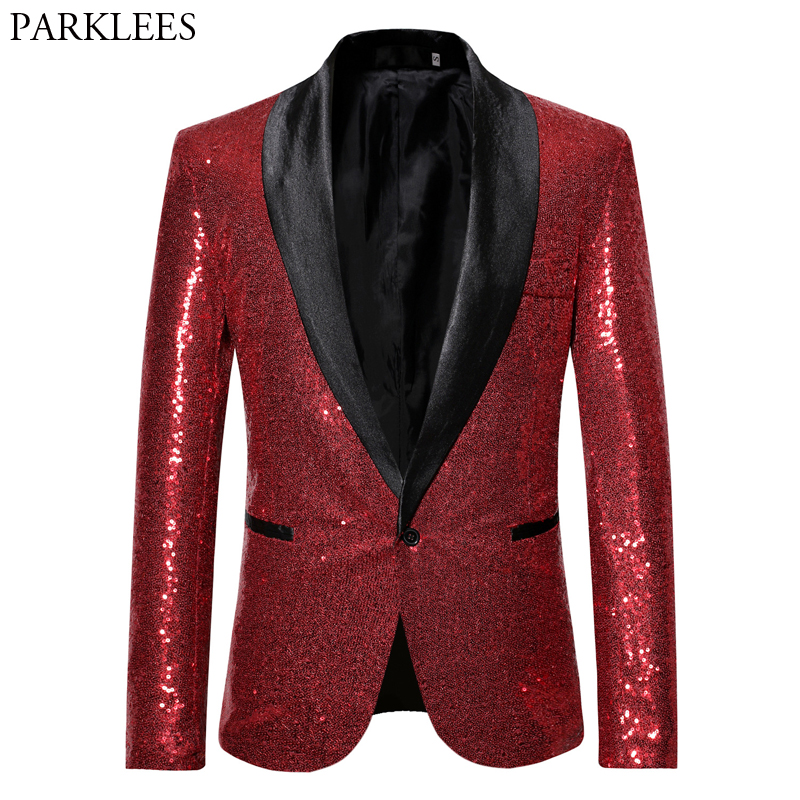 Mens Red Glitter Blazer Jacket Shawl Collar Male Wedding Dress Costume Blazers Casual Slim Fit DJ Singer Paillette Jackets Homme
