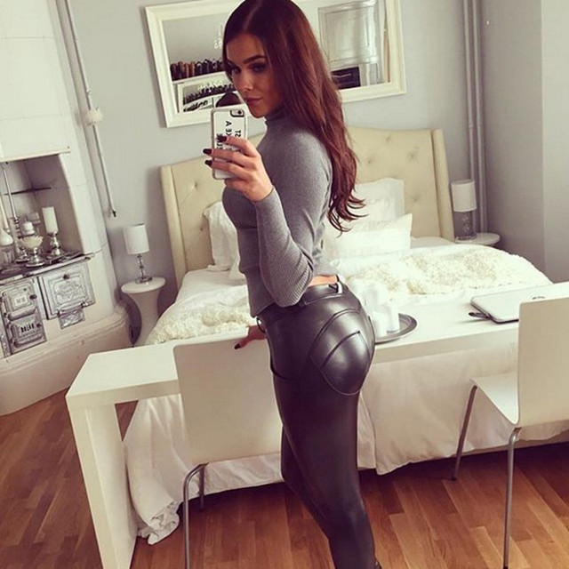 Sexy Push Up Elastic Leather Running/Yoga Waterproof Pants