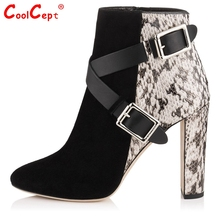 Women Ankle Boots High Heel Shoes Women Square Pointed Toe Boot Sexy Ladies Zipper Botas Brand Buckle Footwear Size 35-46 B157