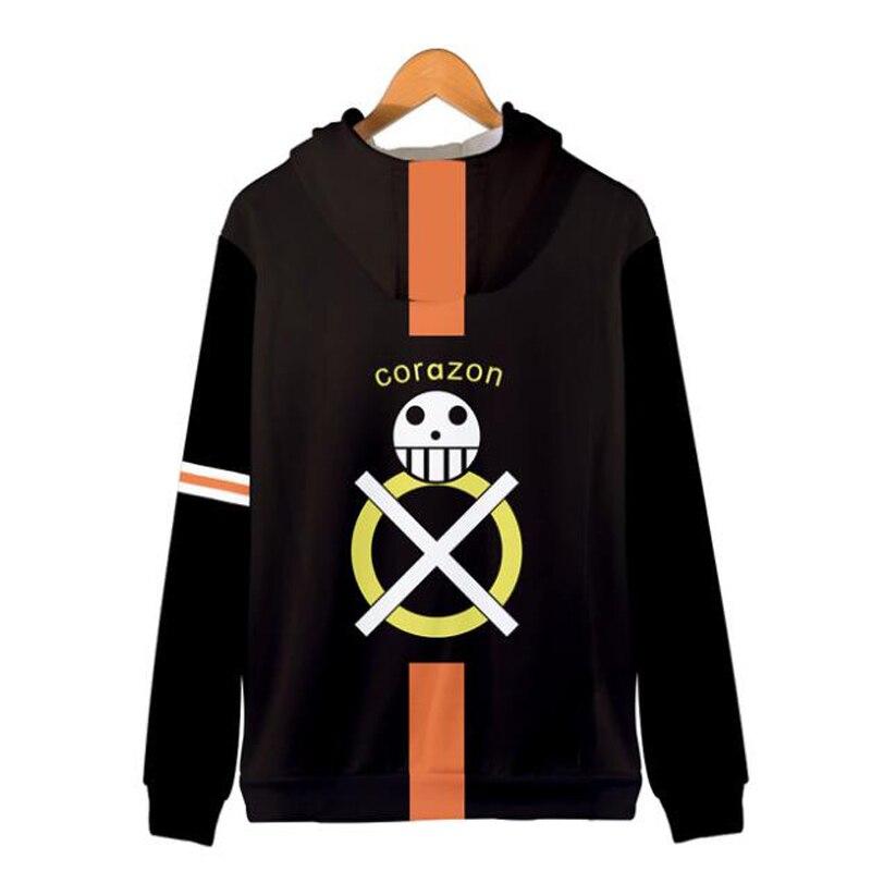 Japan Anime Cosplay Costume One Piece Trafalgar Law 3D Printed Oversized Hoodie Men Hip Hop Streetwear Zipper Hooded Sweatshirt