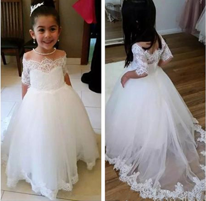 Vintage White Tulle   Flower     Girl     Dress   with Lace Applqiues Train Buttons Half Sleeves Custom Made Holy First Communion Gowns New
