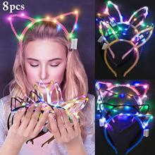 METABLE 8 PCS LED Cat Ear Headband, Fascigirl Light Up Rabbit Ears Headband Cute Hairbands for Girls Adult Party Decorations