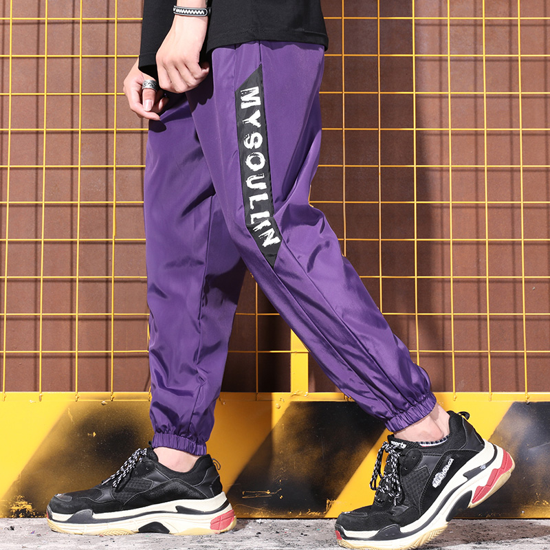 Fashion Brand Hip Hop Pants Men's Windbreaker Fabric Punk Style Street Trousers Men Casual Pants