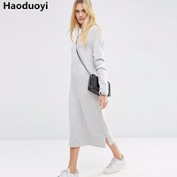HDY Fashion Women O Neck Simple Casual Sweater Dress Long Sleeve Knitting Pullover Sweater Jumper Winter