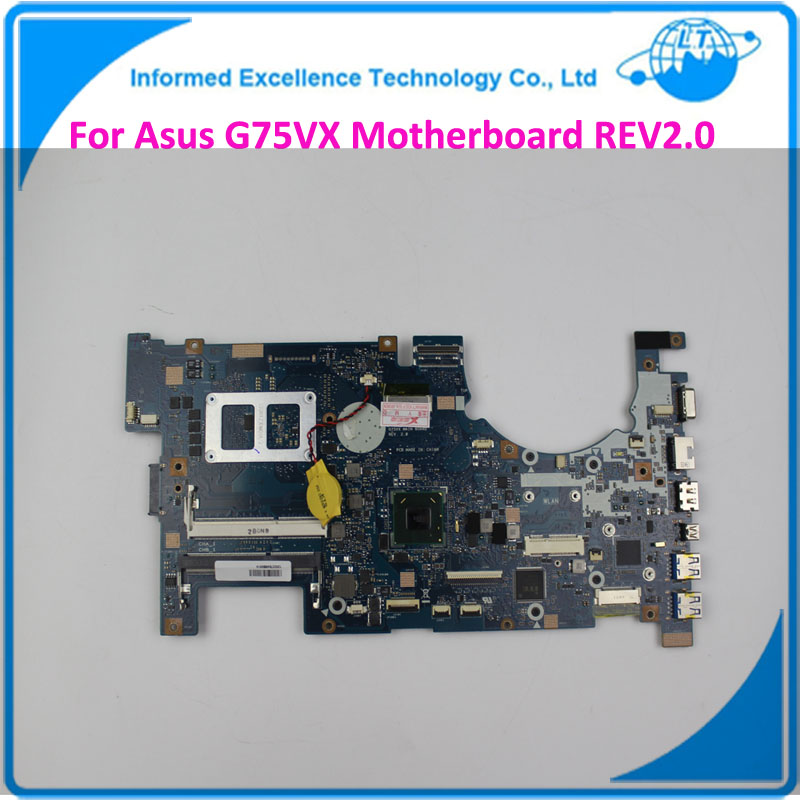 For ASUS G75VX Laptop Motherboard REV:2.0 DDR3 Non-Integrated 100% Tested 2D Connector 4RAM Slots Mainboard