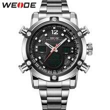 WEIDE 2 Zonas Horarias Hombres Sport Resistente Al Agua 3ATM de Los Hombres Movimiento de Cuarzo Militar Original Weide Relojes Deportivos Para Hombres de acero