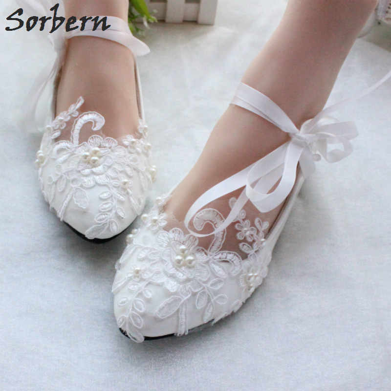 Sorbern Fashion White Wedding Shoes Kitten High Heels Women Pump Heels  Patent Leather Lace Appliques Beaded 012d74111604