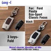 Car styling couverture lampe en cuir + en alliage de Zinc Métal clés sac chaîne de clé de cas fold Wallet 1 pcs pour Ford Fiesta/Éco-Sport/Classique F0CUS