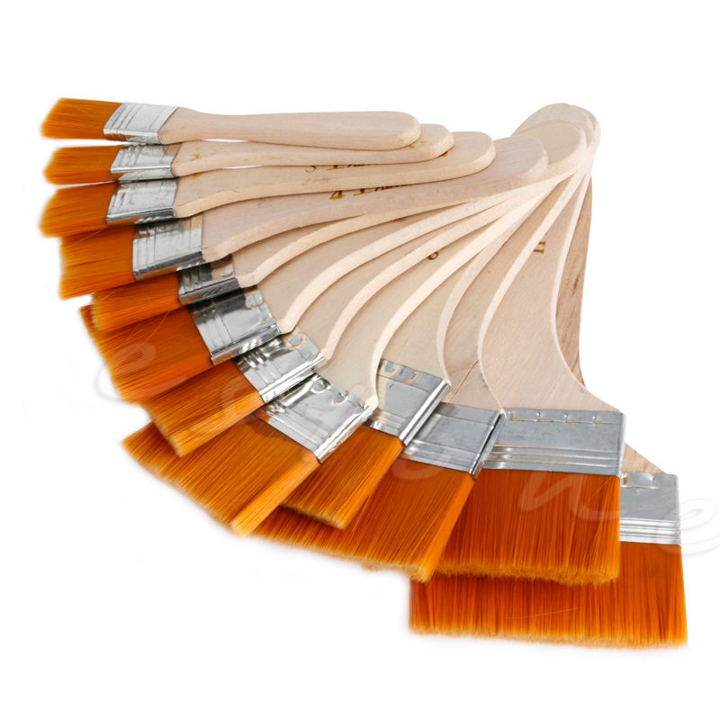 New 12Pcs Wooden Painting Brush Artists Acrylic Oil Painting