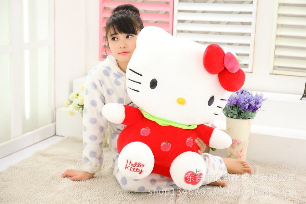 fillings toy large hello kitty plush toy 60cm fruit red apple kitty,cat doll ,soft pillow birthday gift w5342 cartoon cat doll about 60cm bowtie cat plush toy soft throw pillow birthday gift x107