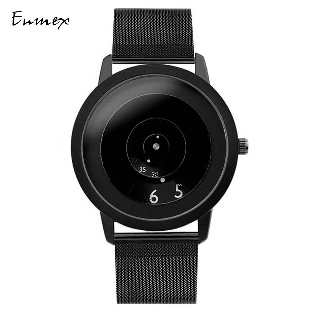 2018 Enmex creative style steel band wristwatch Truth in fiction special design discs hands fashion brief casual quartz watch gift enmex creative style lady wristwatch gloden 3d vortex face creative design silicone band luminous brief casual quartz watch