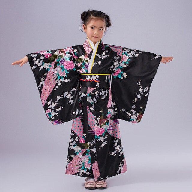 6430c6e99 Children Peacock Yukata Clothing Girl Japanese Kimono Dress Kids Yukata  Haori Costume Traditional Japones Kimono Costume Child Sc 1 St Aliexpress