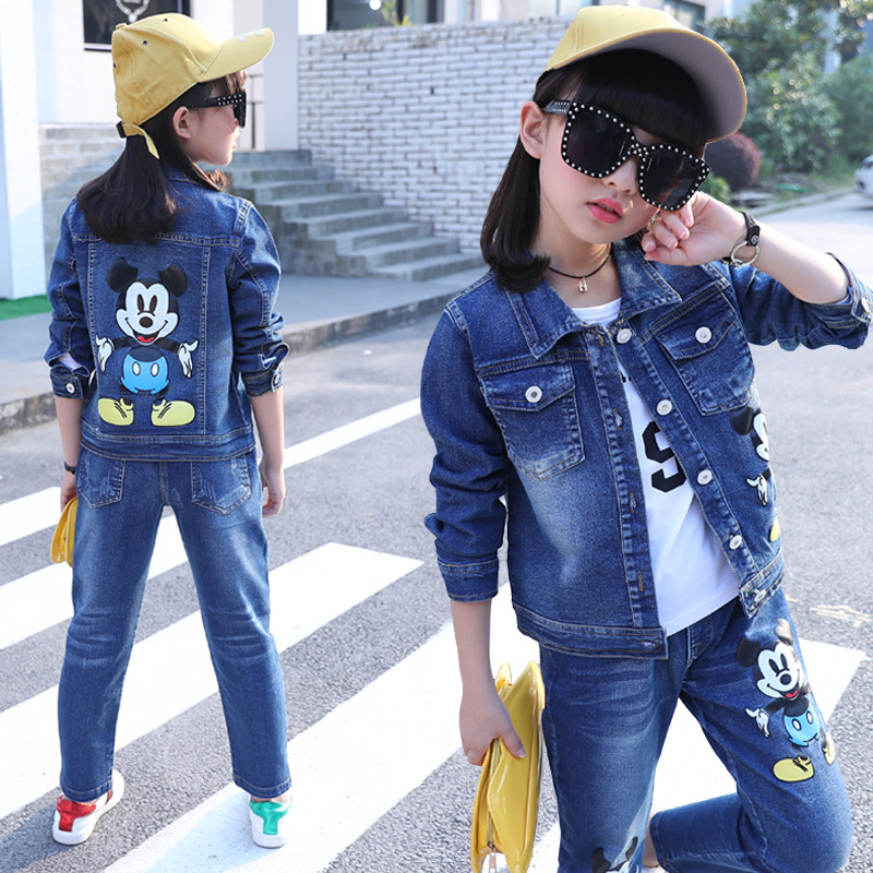 2018 Fashion baby Girl Clothing Sets Denim Cartoon Print Spring Cartoon Kids Denim Jacket+Jeans+Long Sleeve T shirt 3 Pieces