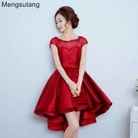 2016 New Robe De Soiree Wine Red Banquet Sleeveless A Line Short Evening Dresses Party Dress