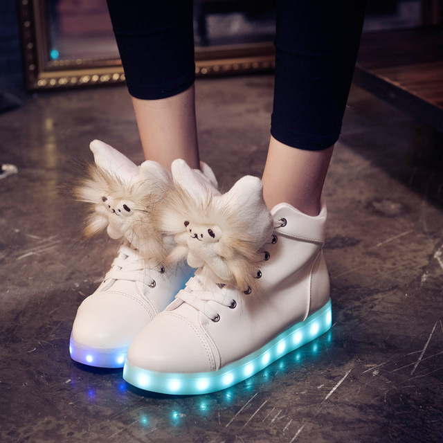 Free Shipping Led Shoes Women Valentine Fashion USB Rechargeable Light Up  Adults 7 Colors Luminous Women Hello Kitty LED Shoes b5ab6296d
