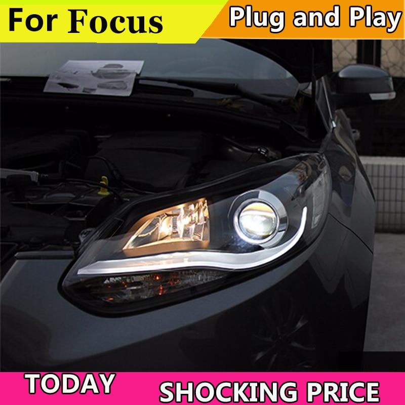 doxa Car Styling 2012 2013 2014 for Ford Focus LED Headlights fpr New Focus 3 DRL Lens Double Beam H7 HID Xenon bi xenon lens