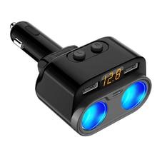 C47 Dual USB Type C Car Charger 2-Socket Car Cigarette Lighter Splitter 12V/24V DC Extender Power Adapter with Voltage Display женская юбка brand new c47 saia sv016397 c47