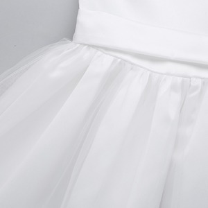 Image 5 - שנהב/לבן בנות Bowknot גבוהה נמוך Hem פרח ילדה שמלת נסיכת תחרות מסיבת יום הולדת שמלת ילדים ראשית הקודש שמלות
