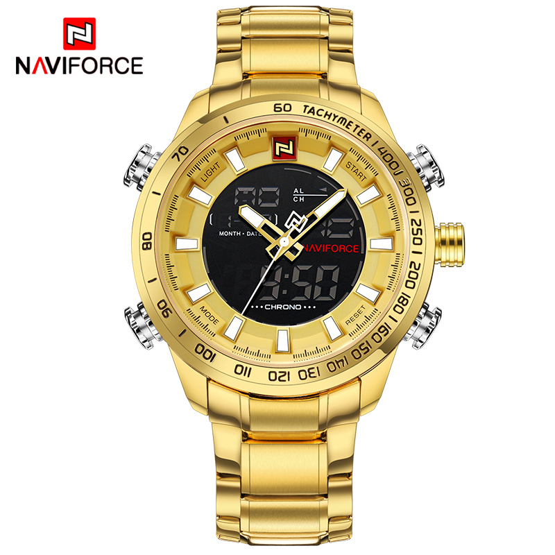 NAVIFORCE Luxury Sport Watch Gold Quartz Led Clock Men