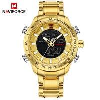 NAVIFORCE Luxury Brand Mens Sport Watch Gold Quartz Led Clock Men Waterproof Wrist Watch Male Military