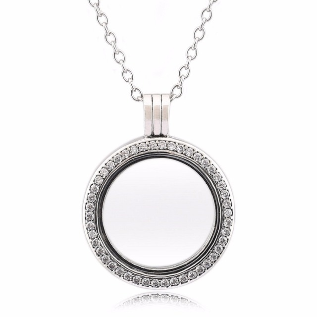 d45840596eb Silver pendant necklace charm Jewelry with clear cz Authertic 925 sterling silver  jewelry DIY Round box charms wholesale