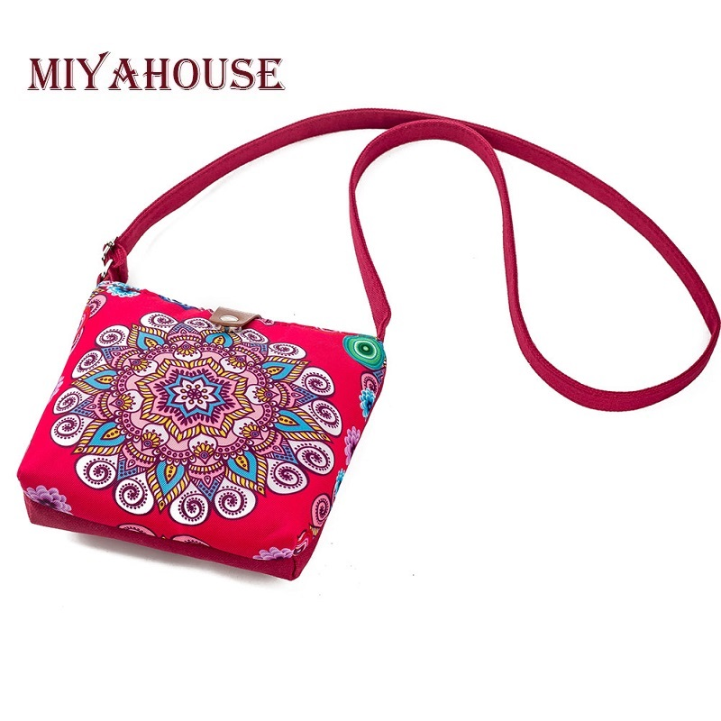 Miyahouse Summer Canvas Shoulder Flap Bags Women Small Beach Phone Bag Ladies Floral Printed Crossbody Messenger Bag For Girls mojoyce women travel shopping bags summer beach big shoulder bags ladies large capacity canvas striped messenger tote bag