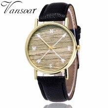 Vansvar Trend Black Strong Leather-based band Watches Quartz Watch for girls Reward relogio feminino #0415