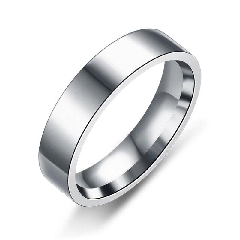 Anéis pretos de aço inoxidável na moda para mulheres anéis de casamento masculino jóias largura 6mm