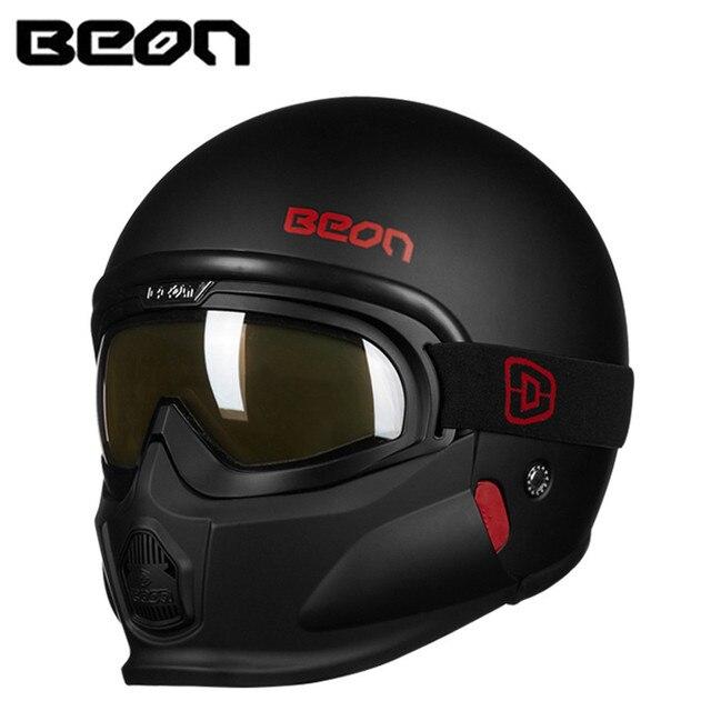 e308007ee BEON Modular Motorcycle Helmet Retro Chopper Cruiser Cascos Moto Casque Capacete  Vintage Bike Helmets with Goggles