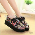 Hot!! HARAJUKU VIVI ZIPPER Carton Graffiti color block high flat creepers platform shoes for women casual punk creepers shoes