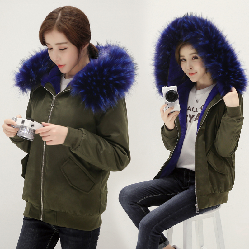 2016 Parkas For Women Winter Army Green Wadded Coat Large Fur Collar Hooded Thick Jacket Outerwear Female Snow Wear Brand parkas for women winter army green wadded coat large fur collar thickening cotton padded jacket outerwear female snow wear brand