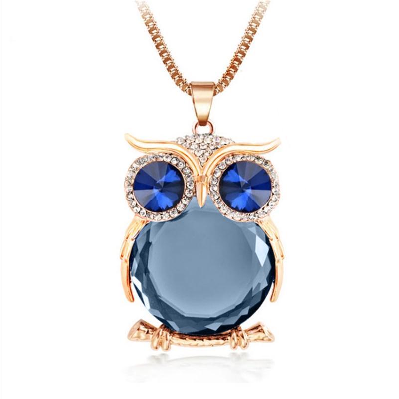 8 Colores Trendy Owl Necklace Moda Rhinestone Cristalino Joyería - Bisutería - foto 3