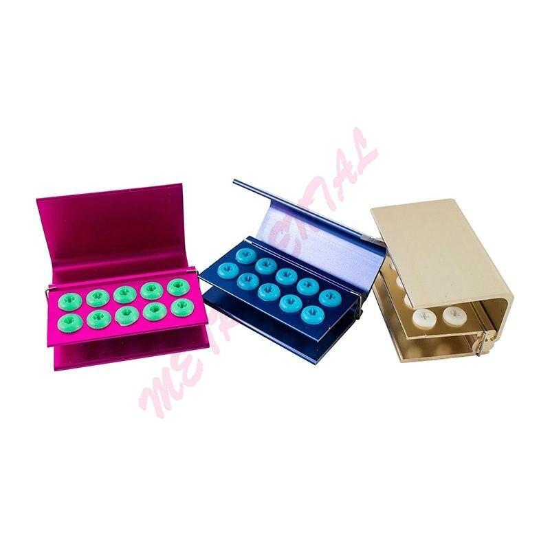 Boîte de support d'autoclave de désinfection de bloc de fraises dentaires 3 pièces 10 trous de silicium RG FA