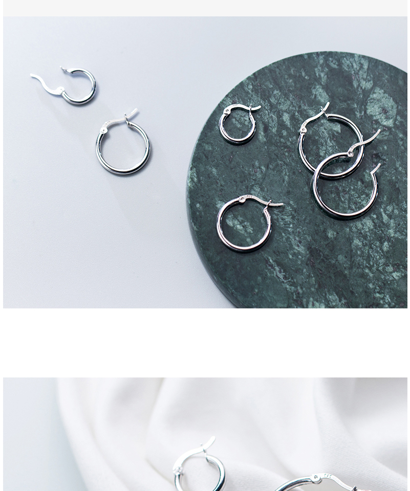 Round Hoop Earrings For Women Classic 925 Sterling Silver Ear Piercing Clip On Earring For Female Fashion Pendientes Aro Plata (3)