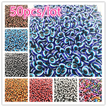 50PCS 8x10mm Mixed Colorful Beads Oval Evil Resin Eye Stripe Spacer For Jewelry Making DIY Bracelet