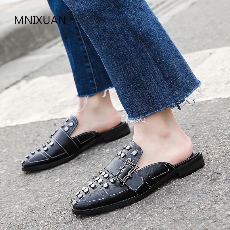 MNIXUAN Europe style fashion punk women shoes pumps low heel 2019 spring new real leather round