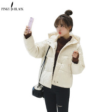 PinkyIsBlack 2018 Spring Autumn Warm Winter Jacket Women New Fashion Womens Solid Color Cotton Parka Hooded Coat